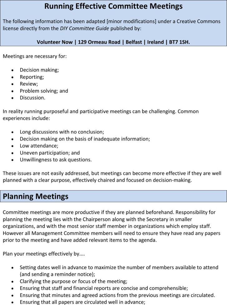 Sample Running Effective Committee Meeting Agenda