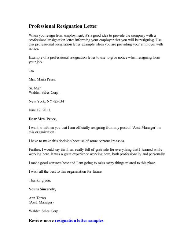 Sample Sales Manager Resignation Letter