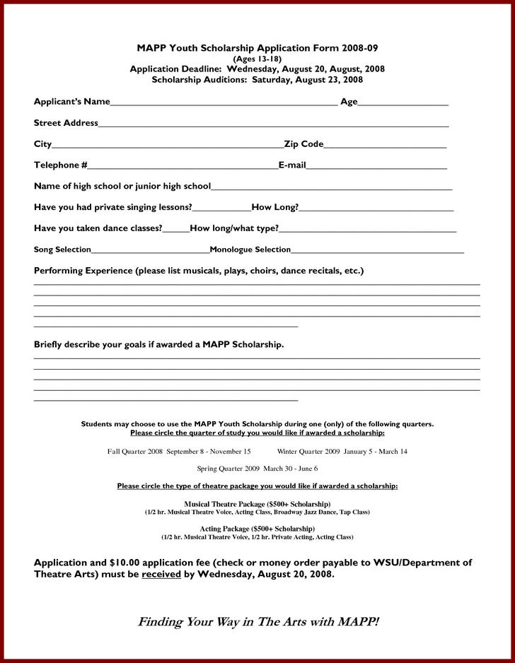 Sample Scholarship Application Form Free Download