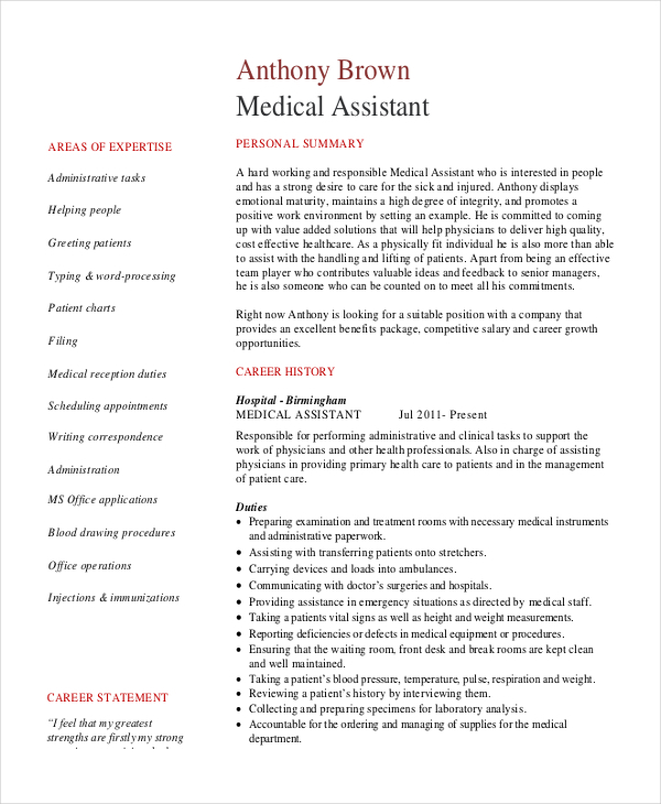Medical Assistant Sample Resume Template: 7+ Senior Administrative Assistant Resume Templates Free