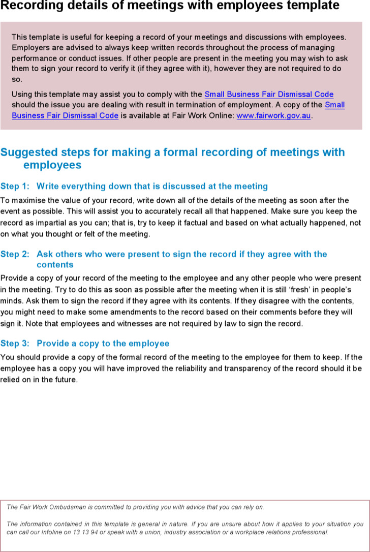 record of meeting template