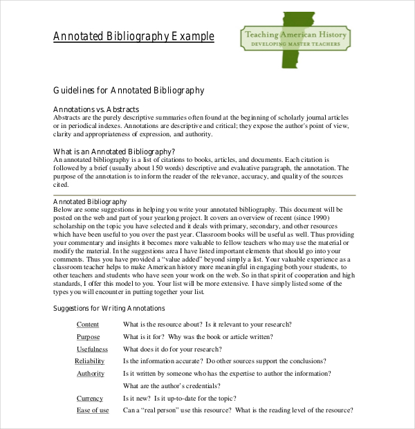 Sample Teaching Annotated Bibliography Template Download