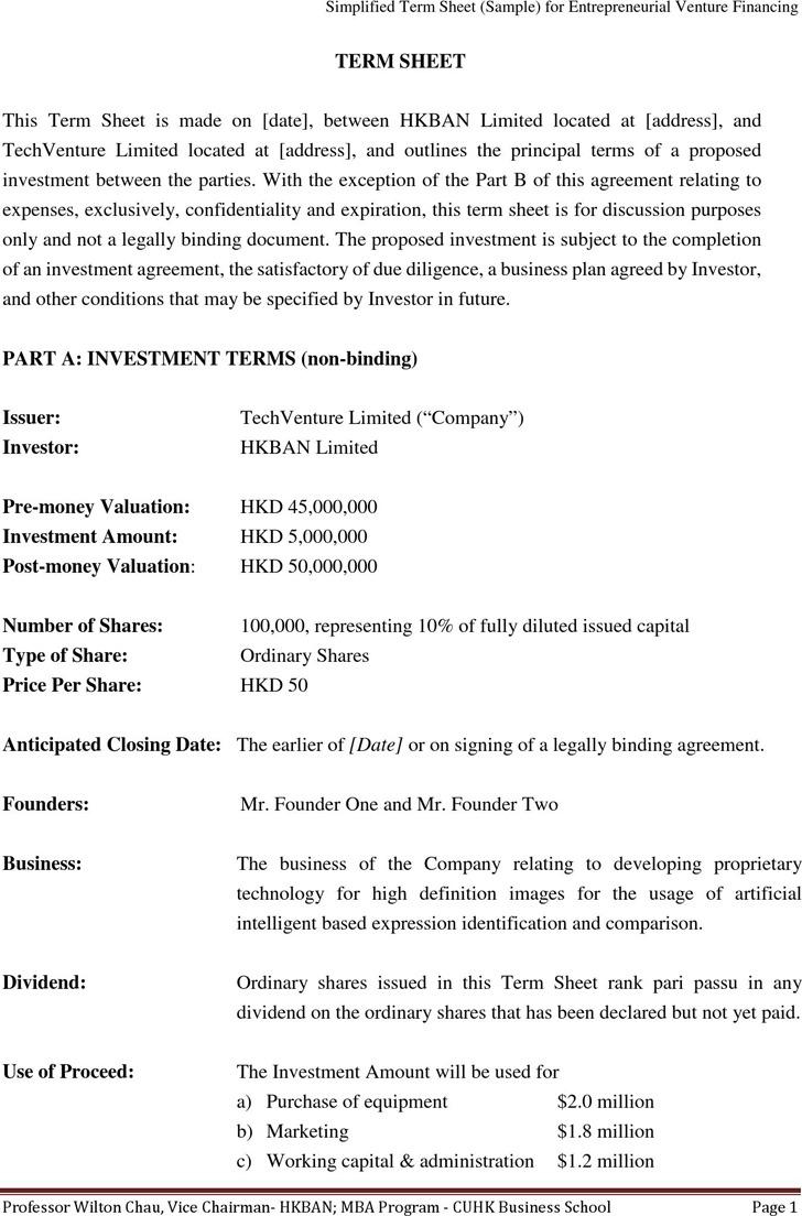 Sample Term Sheet for Entrepreneurial Venture Financing