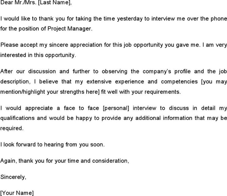 Sample Thank You Email Template After A Phone Interview