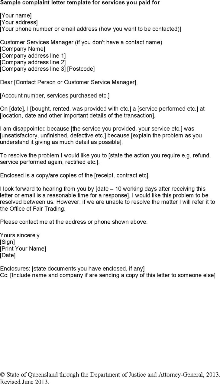 Sample Trading Complaint Letter For Service Template Download