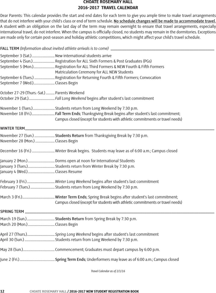 Sample Travel Calendar