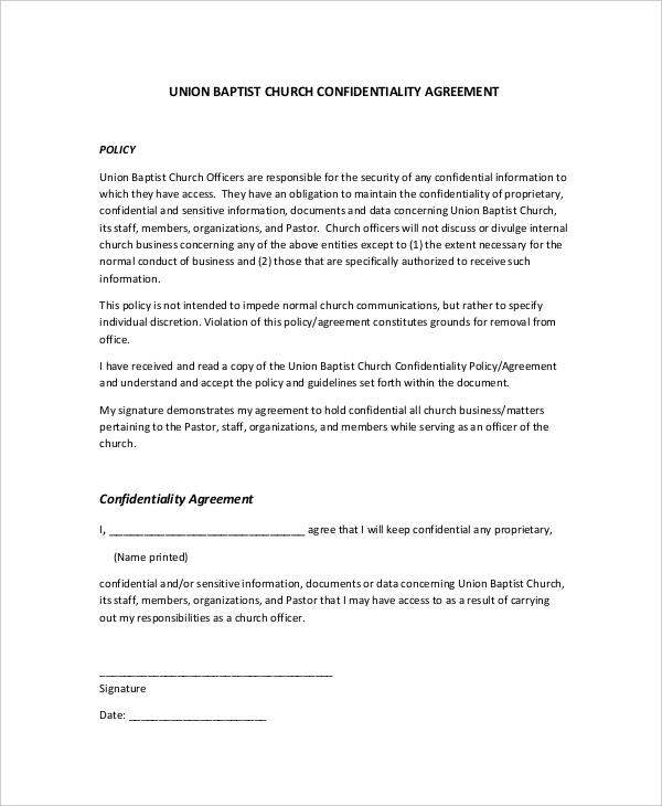 Sample Union Baptist Church Confidentiality Agreement