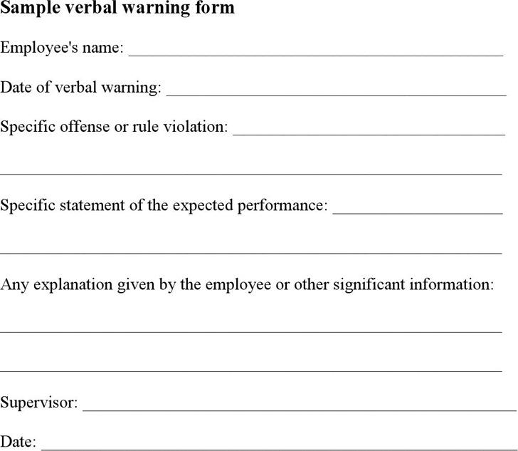 Sample Verbal Warning
