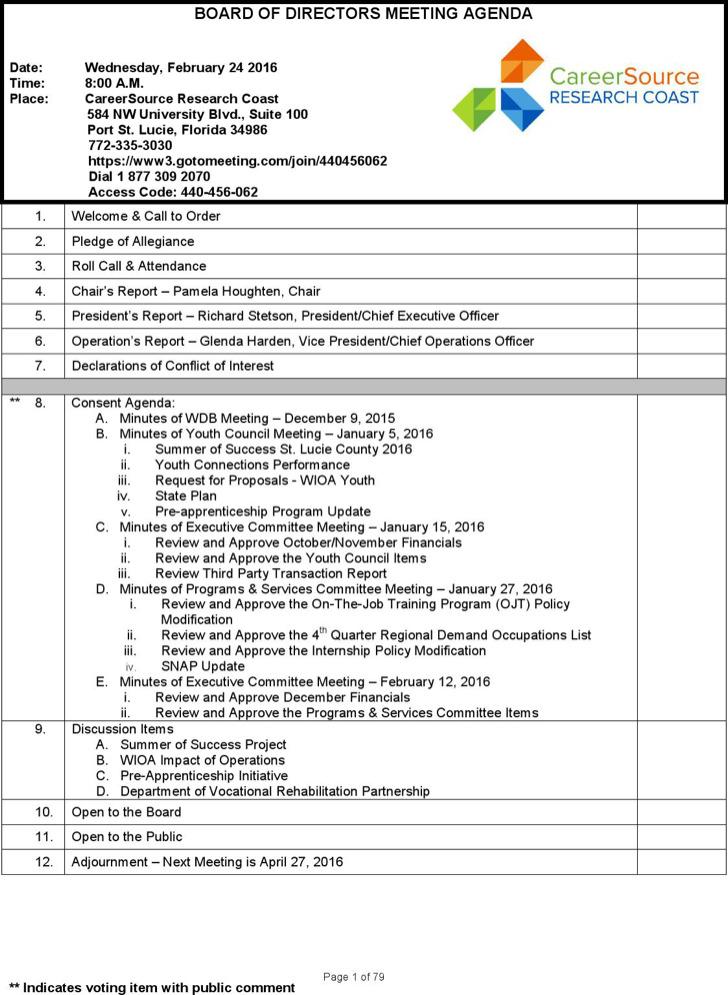Sample Weekly Board Of Director Meeting Agenda Template