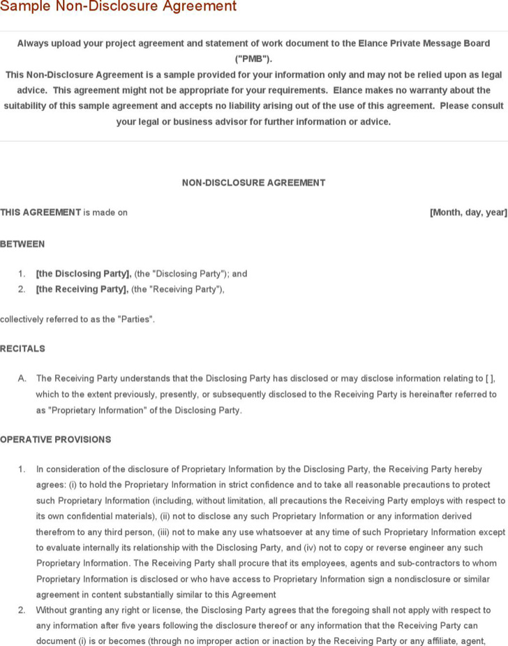 Sample Word Non Disclosure Agreement Template