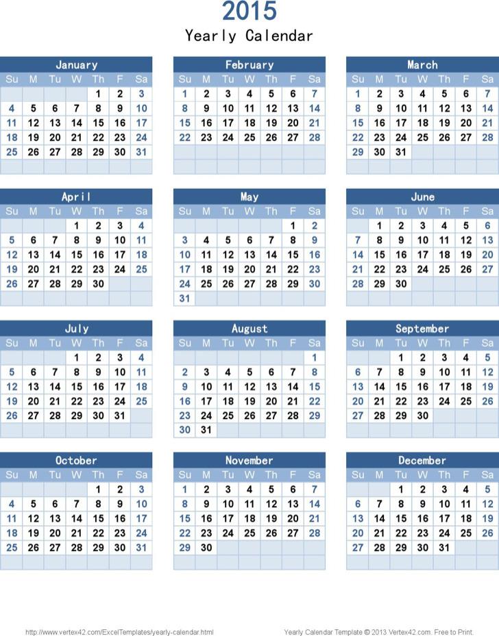Sample Year Calendar Template Free Download