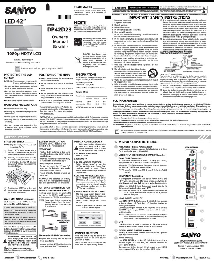 Sanyo Owners Manual Sample