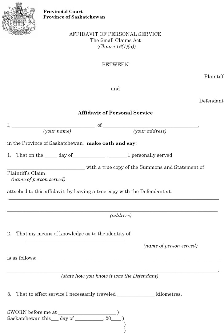 the letter people 4 saskatchewan affidavit form free 13100 | saskatchewan plaintiff affidavit of personal service form