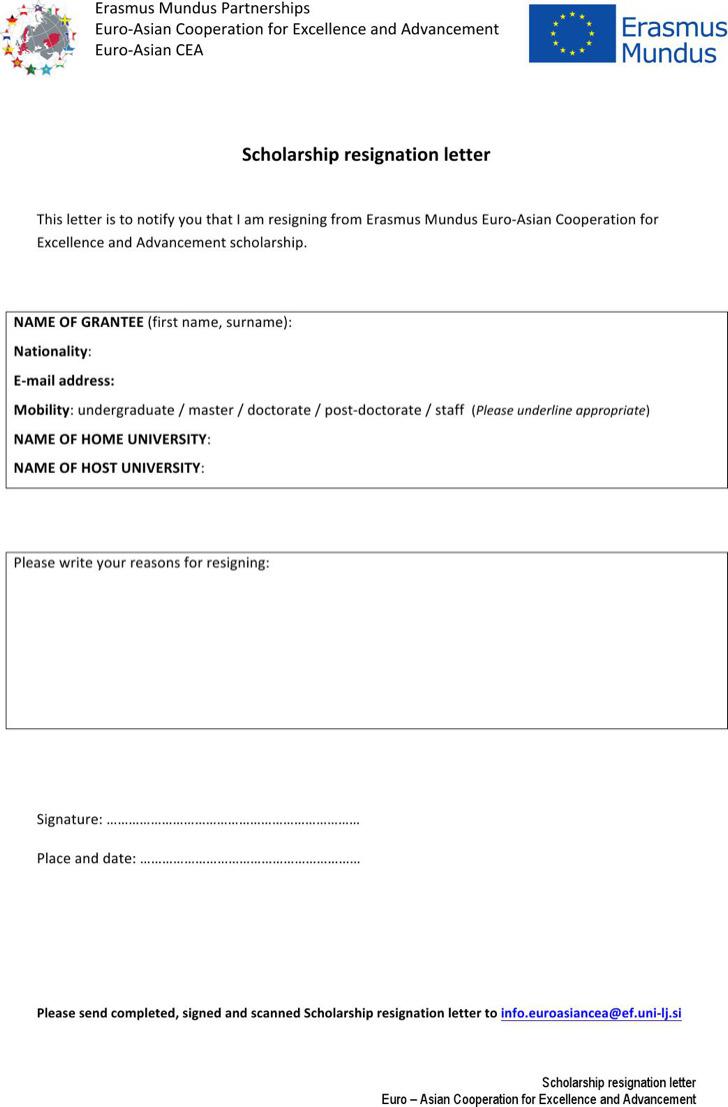 Scholarship Resignation Letter