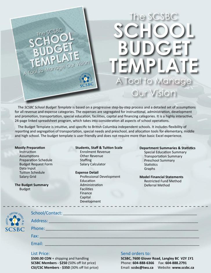 School Budget Template Sell Sheet