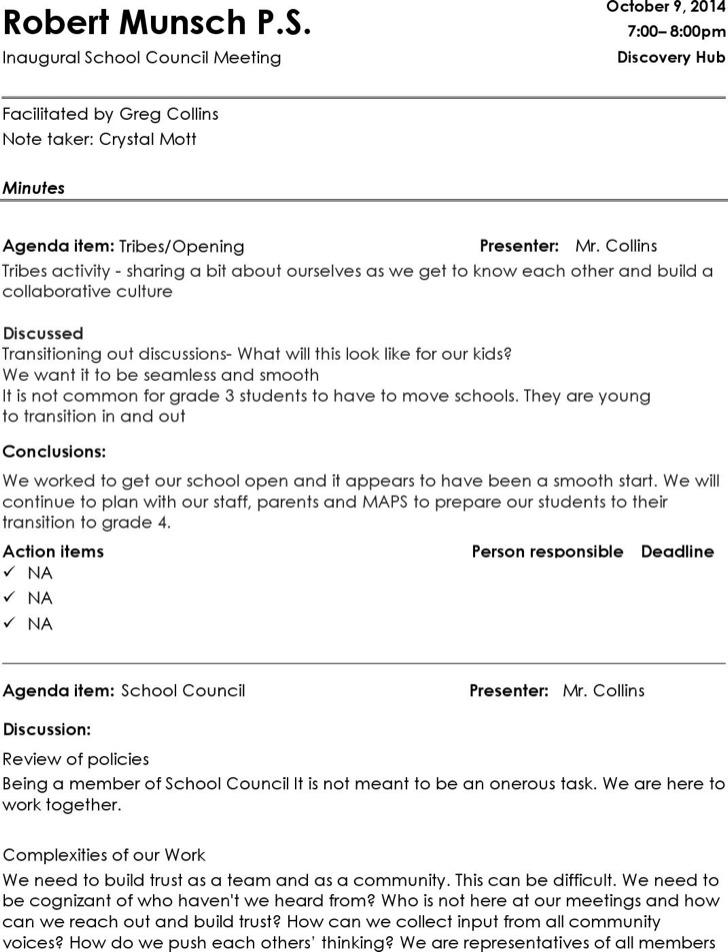 School Council Informal Meeting Minutes