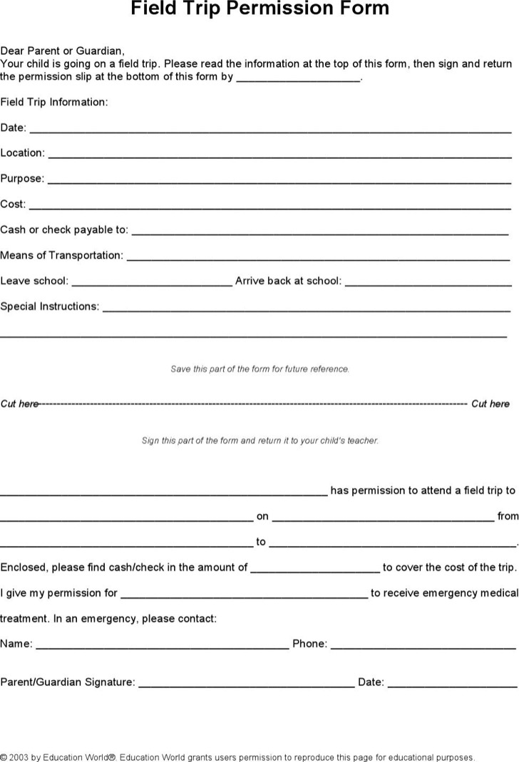 School Field Trip Permission Slip Template Download Word Doc