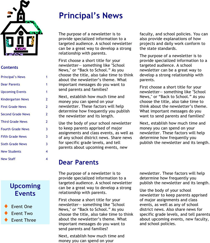 School Newsletter Template 1