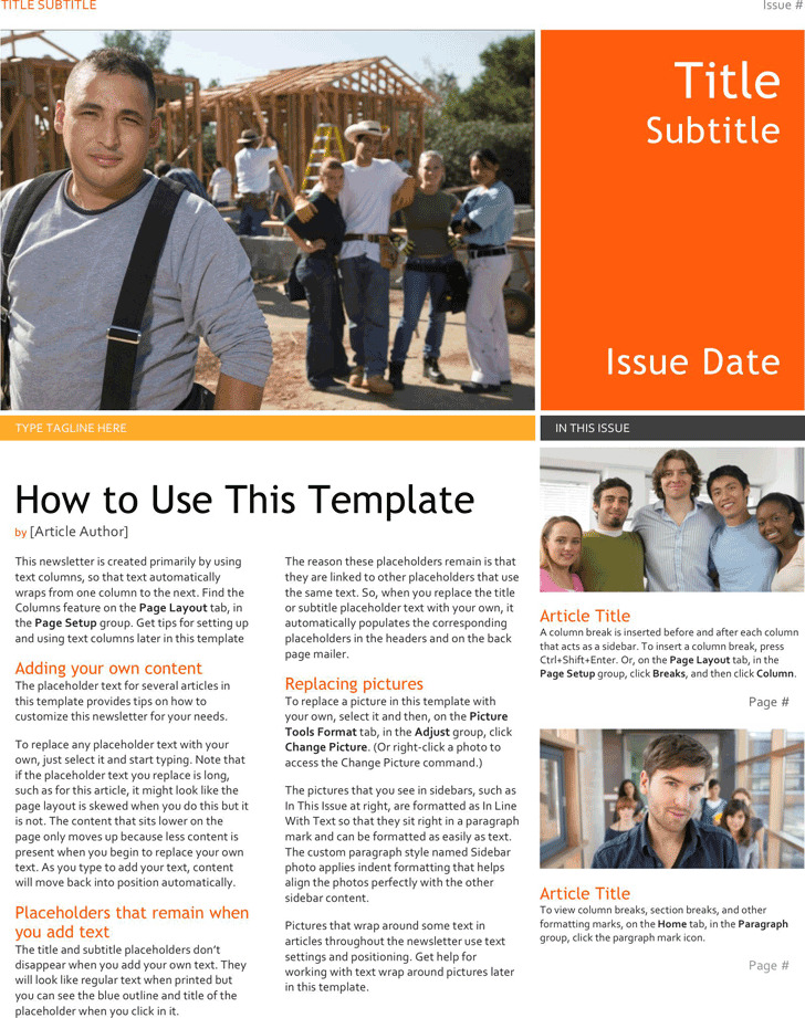 microsoft office newsletter templates free
