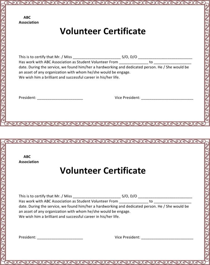 School Volunteer Certificate Template
