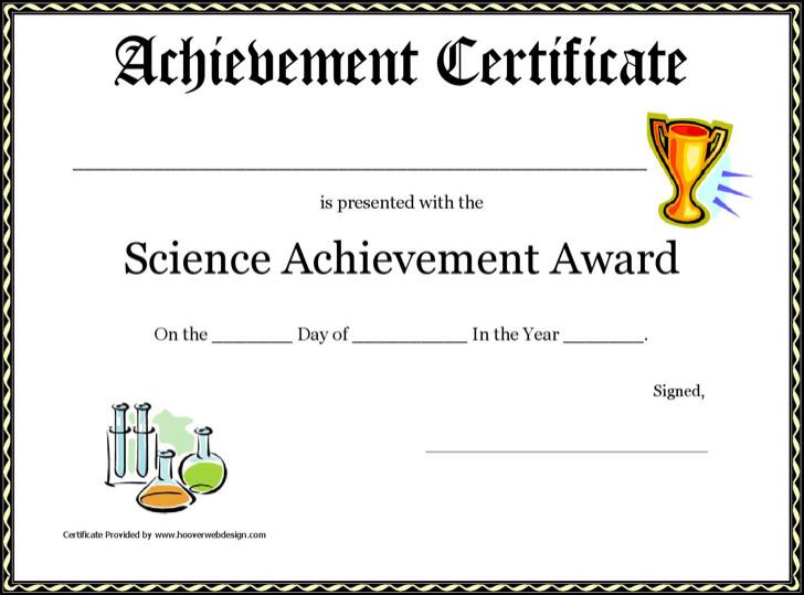 Science Achievement Award Printable Certificate