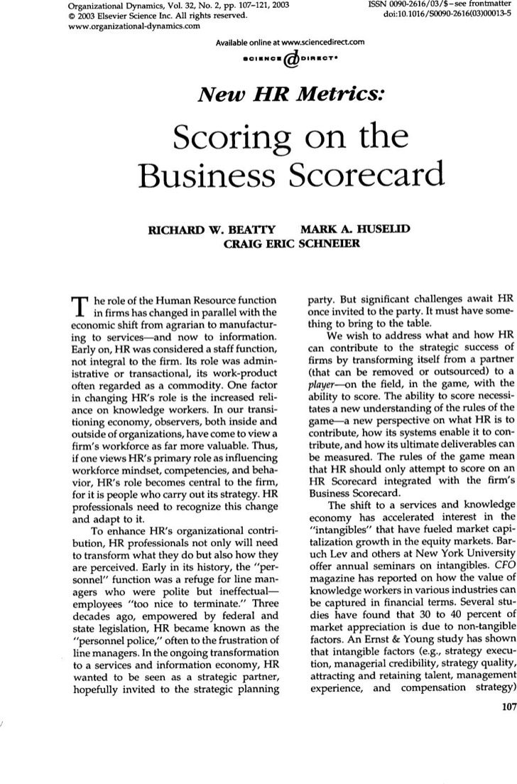 Scoring On The Business Scorecard