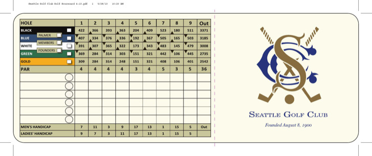 Seattle Golf Club And Scorecard