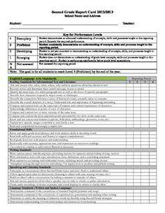 Second Grade Standards Based Report Card Template Free Download