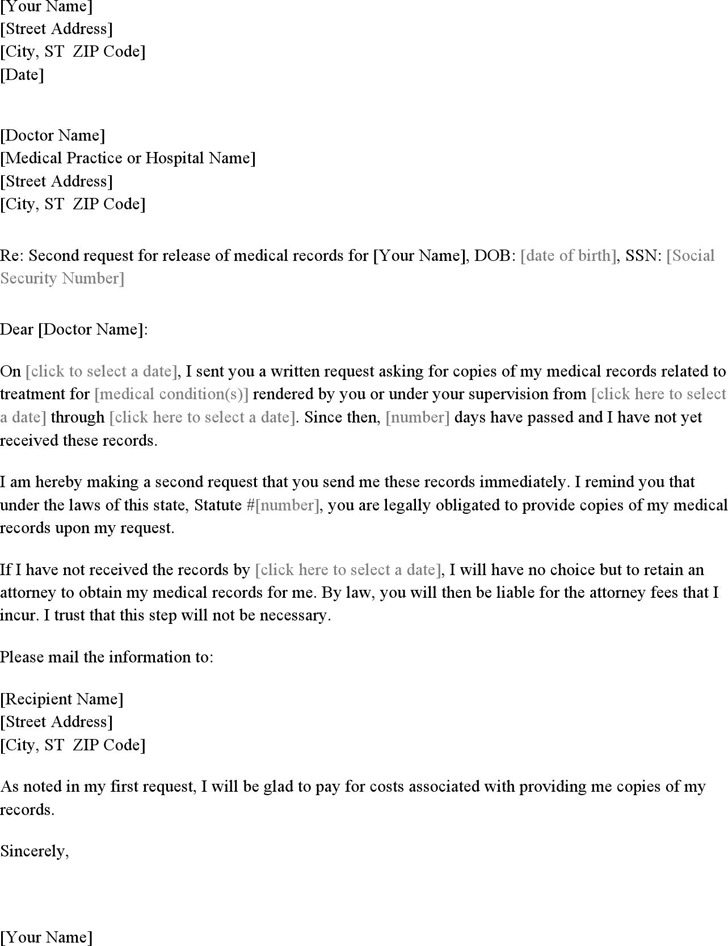 Second Letter Requesting Medical Records