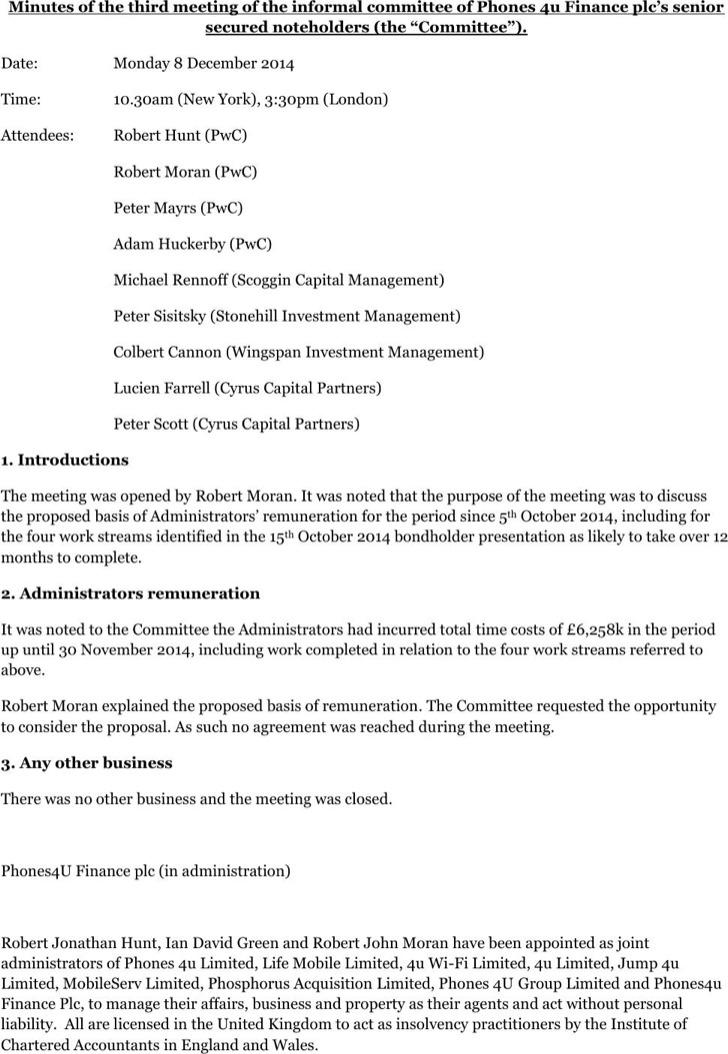 Secured Noteholders Informal Minutes