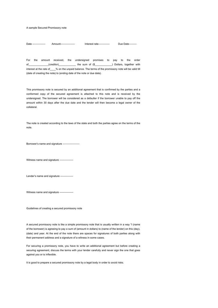 Secured Promissory Note Free Download