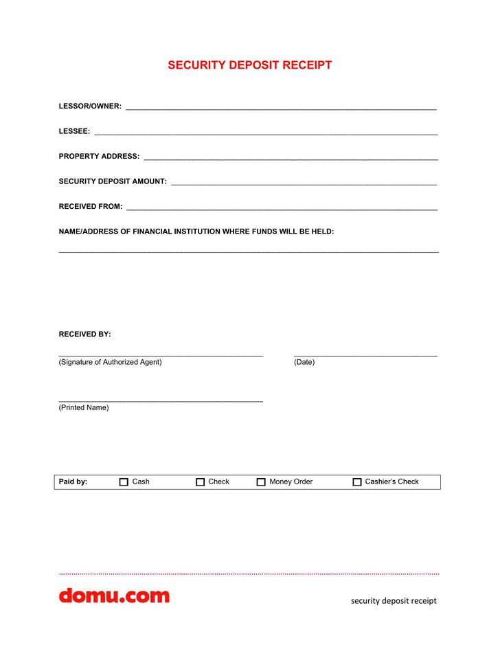 Security Deposit Receipt PDF Download