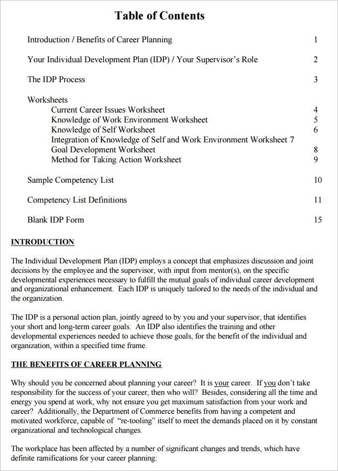 Self Development Plan Template Free Download