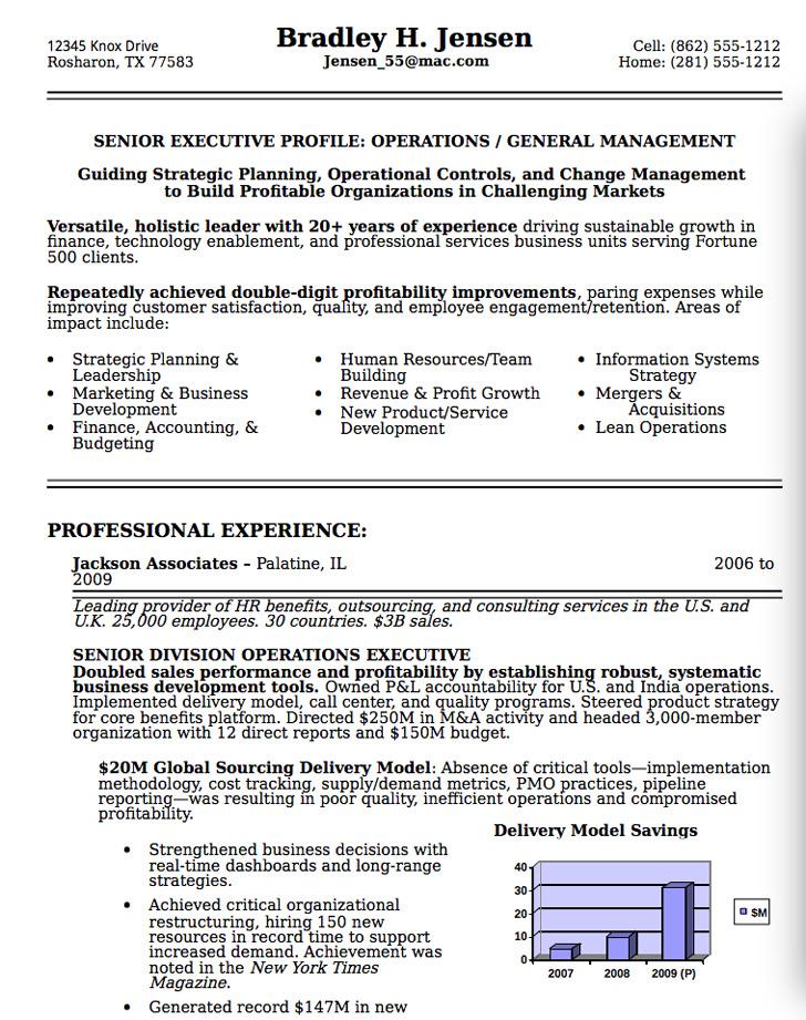Senior Executive Resume Sample 2
