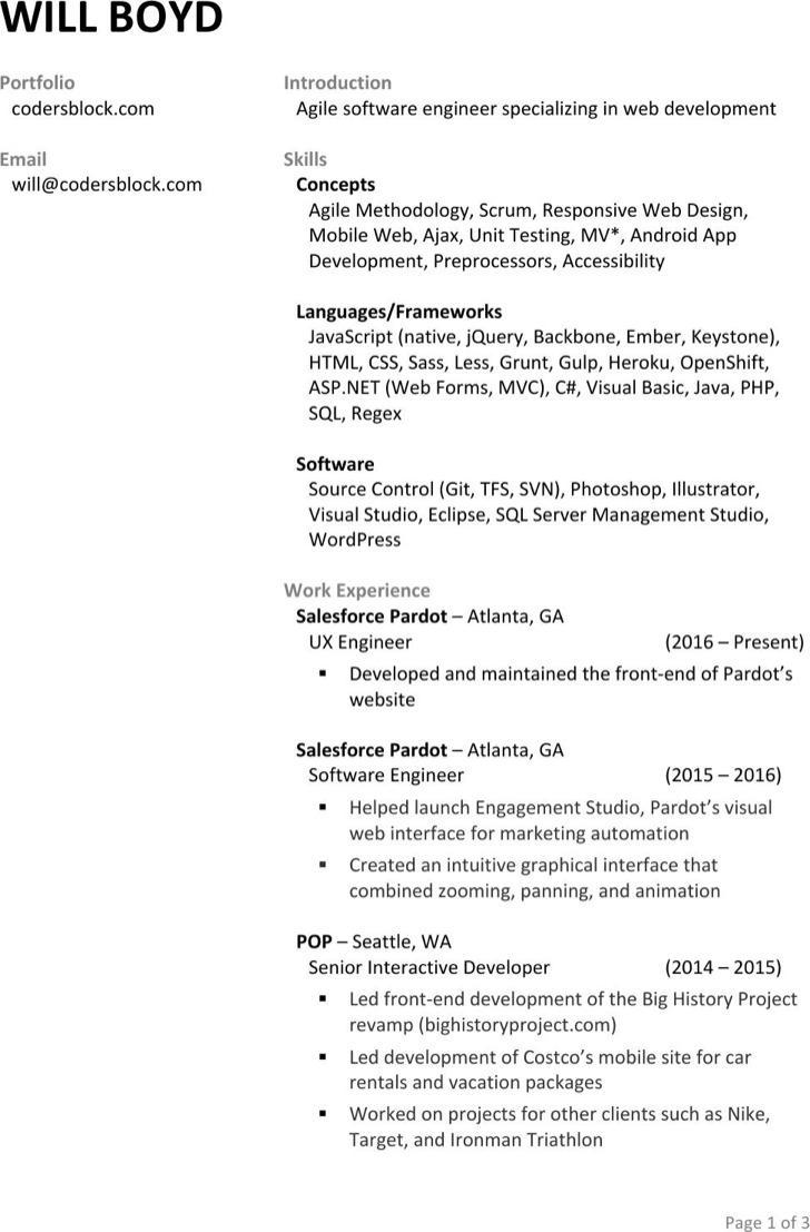 Senior Interactive Developer Resume Template