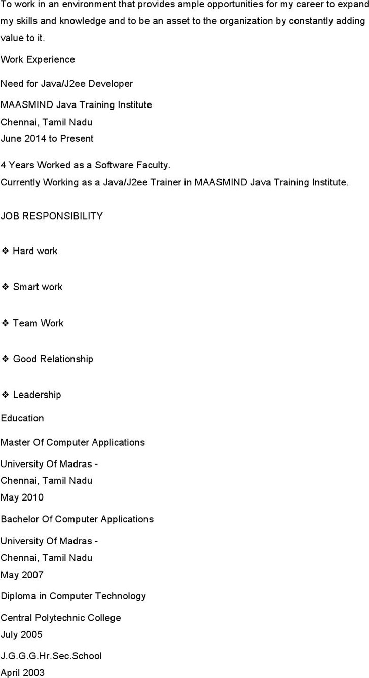 12  java developer resume template free download