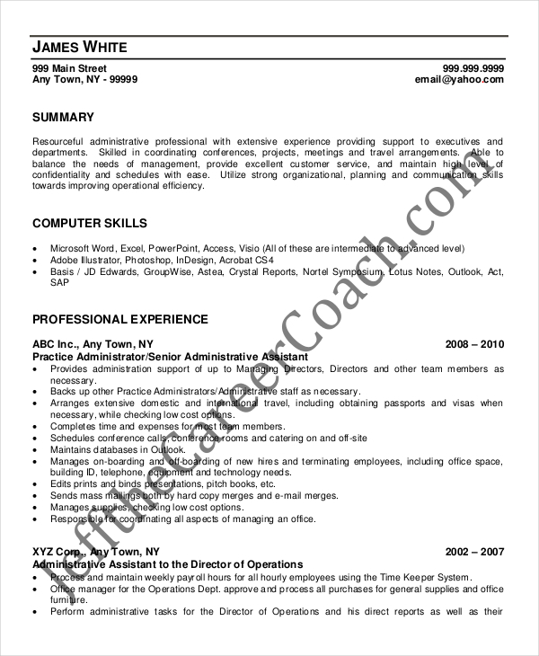 Medical Assistant Sample Resume Template: 9+ Medical Administrative Assistant Resume Templates Free