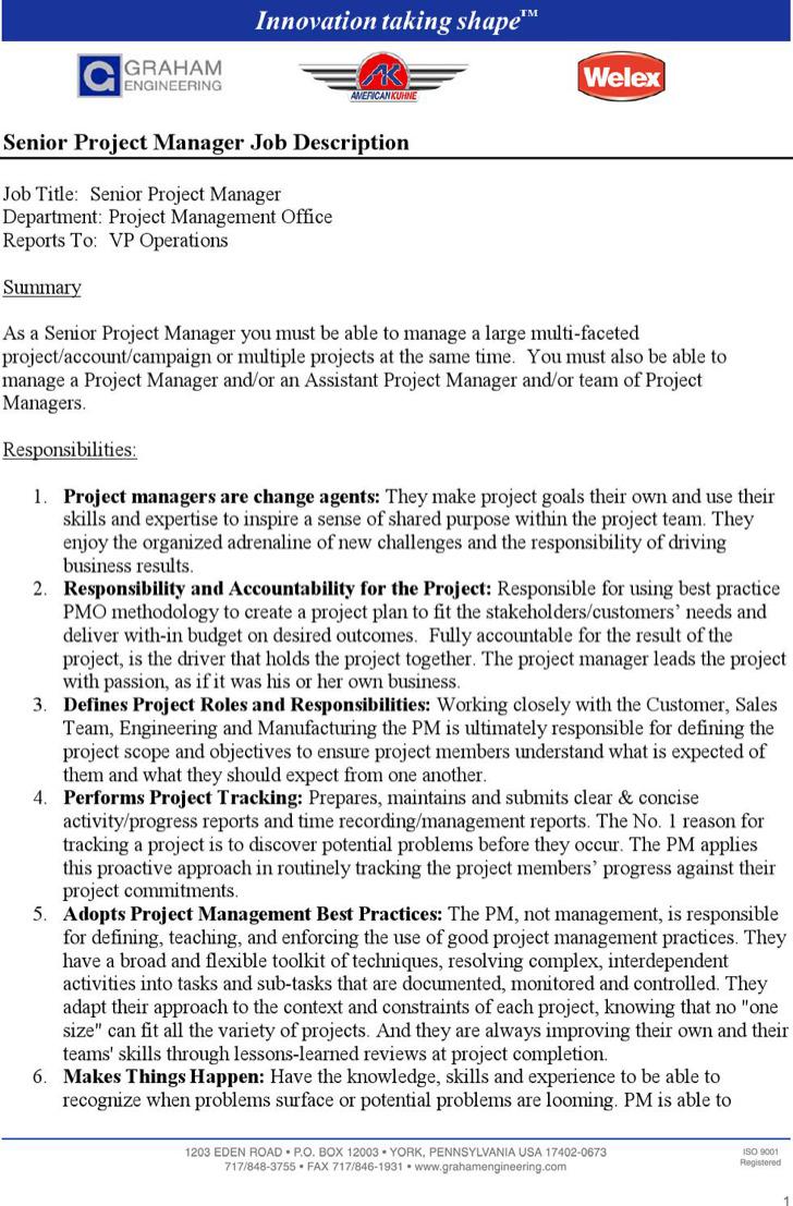 Senior Project Manager Job Description