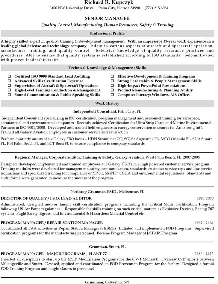Senior Supervising Manger Resume