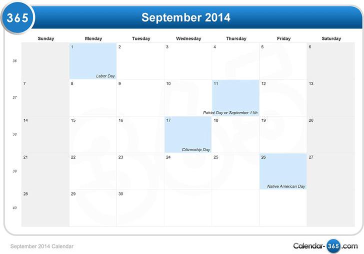 September 2014 Calendar 1