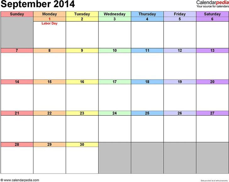 September 2014 Calendar 3