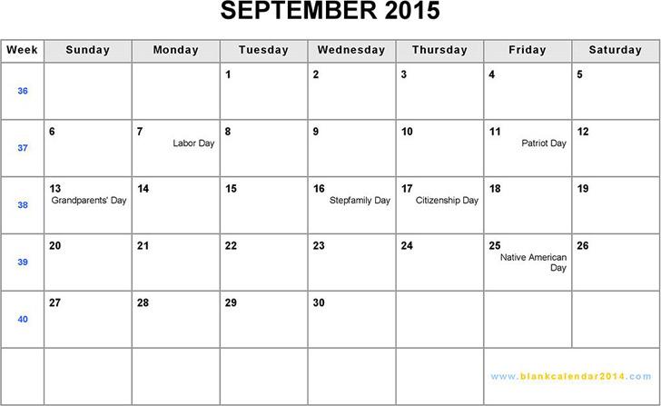 September 2015 Calendar 1