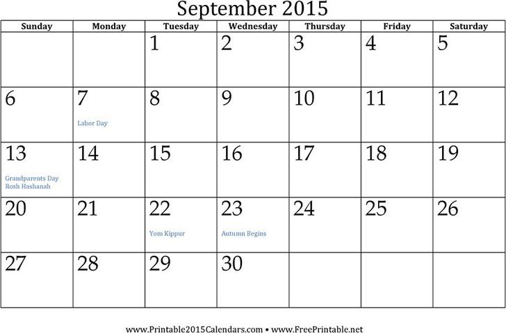 September 2015 Calendar 2