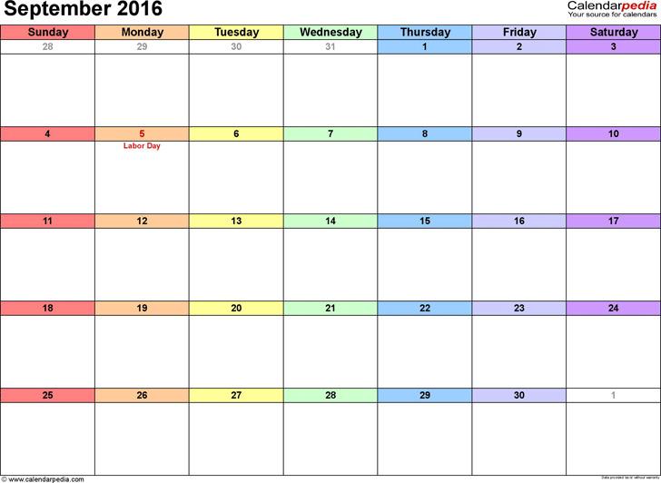 September 2016 Calendar 3