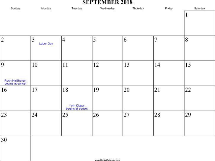 September 2018 Calendar 1