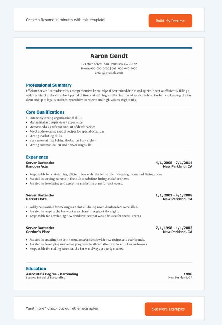 Server Bartender Resume1