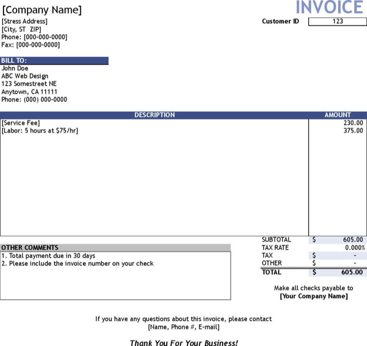 Service Invoice Customer List