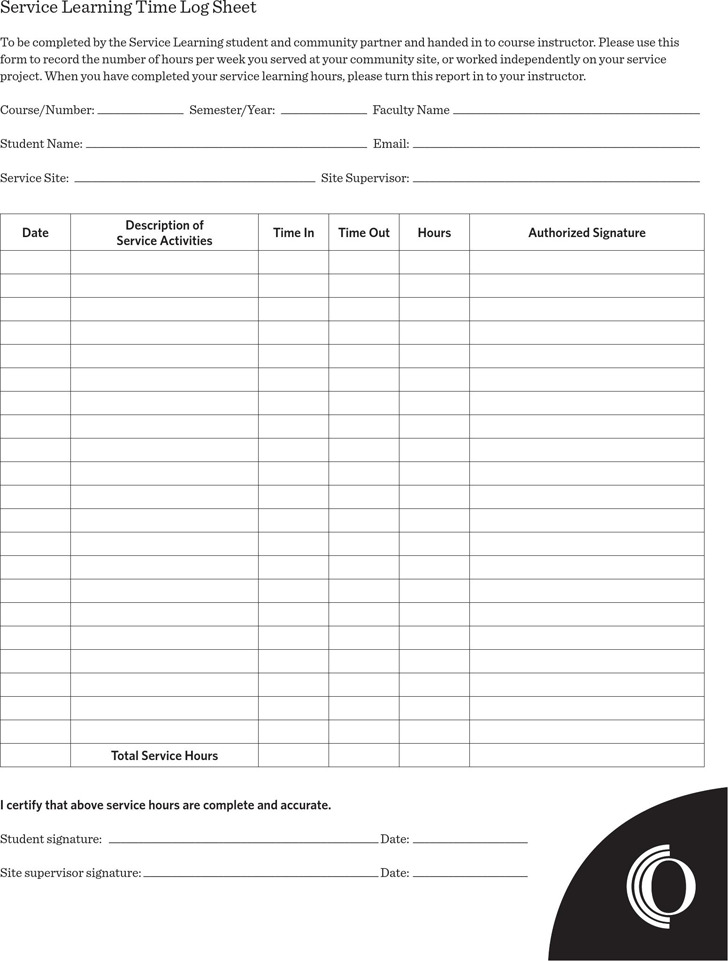 download service learning time log sheet for free tidytemplates