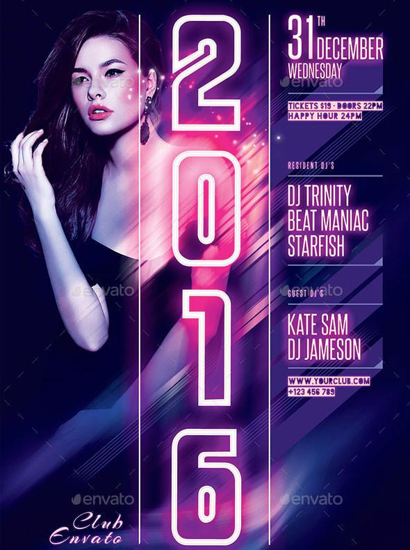 Sexy New Year Flyer Template PSD Format Download