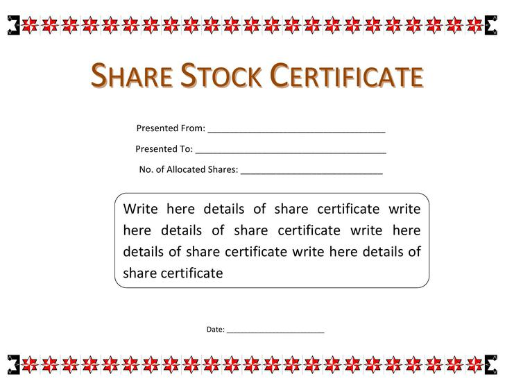 Share Stock Certificate Template MS Word Free Download